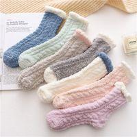 Damer Room Terry Socks Vinter Varm Fluffy Coral Velvet Tjockt handduk Socks Godisfärg Vuxen Fuzzy Sock Women Girls Strumpor