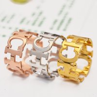 Gold  Silver Plated Broad Alphabet Lovers Rings Never Fade Titanium Steel Fashion Jewelry 2015 New Design Woman Free Shipping