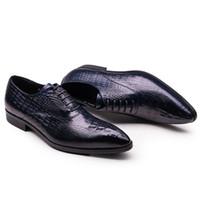 Крокодил шаблон натуральная кожа платье обувь мужчины оксфорды черный синий свадебные туфли мужские острым носом карьера офисная работа человек обувь