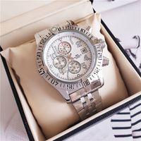 NEW Роскошные часы 44.5mm Ocean Racer A1338012 черный циферблат VK Кварц Рабочая из нержавеющей стали Мужские Наручные часы Bainianling