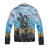 19FW famoso stilista Mens Denim Giacche Hip Hop uomini le donne retrò giacca casual di alta qualità afflitto denim strappati cappotto del rivestimento