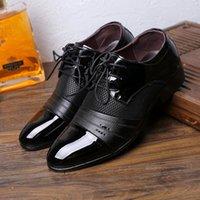 QWEDF Четыре сезона Повседневный кончике Мужские Патентные качества кожаные ботинки черные Свадебная обувь черная кожа мягкая Человек платье D8-69