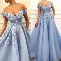 2020 우아한 푸른 댄스 파티 드레스 레이스 3D 꽃 아플리케 진주 이브닝 드레스 어깨 끄기 사용자 정의 만든 특별 행사 가운