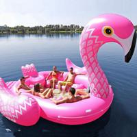 5M tamaño de la nadada piscina gigante inflable partido del unicornio Isla de los Pájaros Barco grande unicornio gigante flamenco flotador isla del flamenco por RRA3252 6-8person