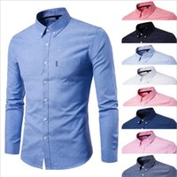 2018 Solid color Men Fashion Long Sleeve Slim fit Shirt male...
