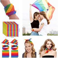 LGBT 파티 축하 용품 22 * 22 인치 55cm의 FFA3281 남여 레인보우 두건 스트라이프 그라데이션 스카프 머리띠 힙합 인쇄면 두건