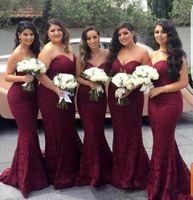 Elegante Burgundy Sweetheart Lace Sirena barato Vestidos de dama de honor largos 2020 Wine Maid of Honor Wedding Guest Vestido de fiesta fiesta fiesta