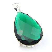 "New 10 Pcs lot LuckyShine Top Fire Drop Green Quartz 925 Sterling Silver Plated Fashion Women Wedding Pendants Necklace 1.58"" inch"