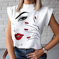 Губы Печать Блуза Рубашки 2020 Летний Повседневная Стенд Шеи Пуловеры Топы Дамы Мода Симпатичный глаз Короткие Рукав Blusa Женщины Элегантные