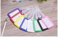 100pcs / lot etichette per il bagaglio a bordo Candy tutela dell'ambiente set di carte di plastica di controllato tag elenco del bagaglio