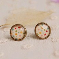 58b6dd558 New Arrival. post Vintage Colorful Polka Dots Post for Girl 12mm Antique  Bronzed Stud Earrings Handmade Photo Glass ...