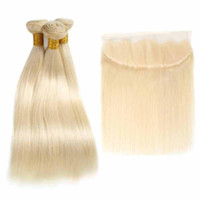 613 blonde Malaysian Straight Remy Human Hair Bundles with C...