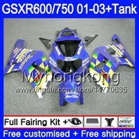 + Réservoir chaud bleu Movistar pour SUZUKI GSXR 600 750 GSXR-750 GSXR600 2001 2002 2003 294HM.69 GSX R750 R600 K1 GSX-R600 GSXR750 01 02 03 Carénage