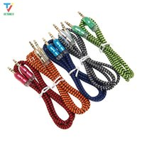 Wholesale 100pcs lot 1M 3.5mm Gold-plated Connectors Braided Fabric Male to Male AUX Audio Cable Cord