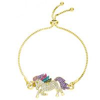 Strass unicórnio charme pulseiras para as mulheres de prata ouro moda ajustável diamante pingente de cavalo cadeia menina senhora presente pulseira jóias