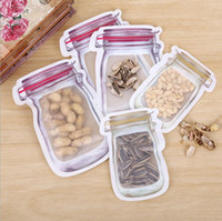 Mason Jar Shaped Food Container Wiederverwendbare Eco Friendly Snacks Tasche PE Sicher Zippers Speicher-Beutel-Plastikaufbewahrungstaschen Riechen Proof Clip LXL726-1