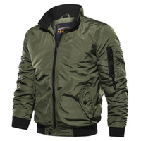New Men' s Jacket Casual Solid Color Stand Collar Flight...