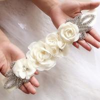 Fajas de boda flores de gasa cinturón nupcial vestido de diamantes de imitación accesorios nupciales cinturón blanco marfil negro rojo plata en stock órdenes a granel
