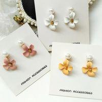 Koreanisches temperament einfache süßigkeiten farbe matte kleine blumen pearl ohrringe in wilde ohrringe pearl ohrringe