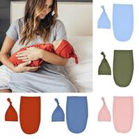 Baby Swaddle Wrap Neugeborene Feste Farbe Decken Kinder Schlafsack Wrap mit Hut 2pcs / set 5 Farben 47,5 * 26,7 cm