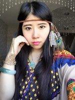 Bohemian Indain hippy handmade in pelle corda in pelle marrone piuma fasce perline regolabili moda pavone piuma fasce per capelli accessori per capelli