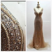 Champagne Beaded Crystals 2019 Arabic Evening Dresses High N...