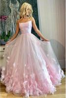2020 новые поступления розовый тюль линия сладкий 16 платья цветы Quinceanera платья дешевые вечерние платья длинные vestido де novia