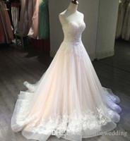 블러쉬 핑크 웨딩 드레스 A 라인의 연인 끈 민소매 스윕 기차 아플리케 장식 조각 레이스 비치 보헤미안 웨딩 신부 드레스