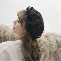 Las mujeres con estilo del lunar de Hilados Streetwear transpirable resorte del casquillo del sombrero de la boina del vendedor de periódicos de la vendimia Caps tocado elegante de señora Headwear