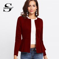 Sheinside Zip Up Box Pieghevole Peplum Autumn Jacket Donna Ruffle Bolero Workwear 2018 Abbigliamento Slim Capispalla Borgogna Donna Cappotti