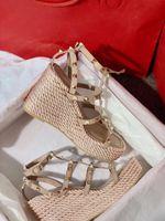 Verão Womens Valentine Street Strappy Wedge Sandálias Senhoras Luxo Mulheres Desenhador Vestido, Festa Ancileira Gladiador Sandálias EU35-43