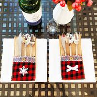 Couteau de Noël et sac Fourchette Décoration de Noël cadeau restaurant Décoration de Noël Gerbera linge couteau et une fourchette couverture ZZA1241