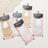 Moda antideslizante Barco cordón invisible calcetines antideslizante calcetines cortos gratuito de envío HT011