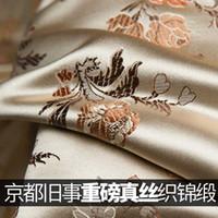 Klasik zarif altın üst uç ağır jakarlı ipek brokar, 55momme cheongsam akşam klasik kumaş elbise