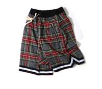 패션 남성 레트로 격자 무늬 스코틀랜드 패턴 반바지 높은 거리 힙합 캐주얼 느슨한 짧은 바지 남성 탄성 허리 지퍼 반바지 비치 반바지