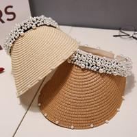 شخصية اليدوية اللؤلؤ النساء القبعات الصيف في الهواء الطلق الشمس حماية قبعة أزياء الشمس واسعة بريم القبعات للسيدات