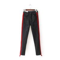 Frau Beiläufige Stretch Denim Jeans Solid Color Stitching Hohe Taillen-Schwarz-Jeans und dünne Jeans Hot Sale Hosen