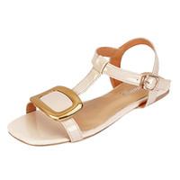 Verão plana cinto de fivela sandálias de couro de Sale-MUQGEW Hot Mulheres conforto casual Peixe Boca Roman
