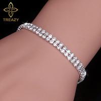Braccialetti nuziali di cristallo di modo di TREAZY per le donne Braccialetti del Rhinestone di colore d'argento lucido Braccialetti Brides il regalo dei monili di cerimonia nuziale