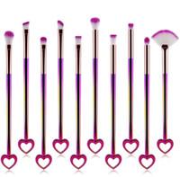 Pennelli per trucco a forma di cuore Pennelli per trucco a colori sfumati Set 10 pezzi / set Bling Bling Face Pennello cosmetico per ombretto