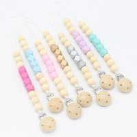 Baby Wood Bead Silicon Polygon Pacifier Chain Clips Euro America Trade Hand Made Safe Infant Baby Gracious Pacifier Holder