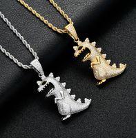Oced Out Dinosaur Подвеска ожерелье с теннисной цепью Блен Гип-хоп Золотой Серебряный Цвет Мужские / Женщины Очарование Цепочка Ювелирные Изделия Новый