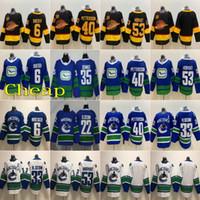 Costurado 2020 Vancouver Canucks Hockey Jersey 40 Elias Pettersson 33 Henrik Sedin 22 Daniel Sedin 53 Bo Horvat Home Azul Terceiro Branco