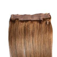 CE Belgeli Brezilyalı İnsan Saç Hiçbir Klipler Halo Saç Uzantıları çevirin, 1 adet 80G 100G Kolay Balık Hattı Saç Dokuma Toptan Fiyat