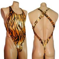 G7284 Erkek Tanga Geri Bodysuit Swim Kumaş Sıkı Yüksek Kesim X Geri Onesie Kaplan Hayvan Baskılar