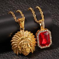 يثلج خارجا الرئيس الهندي رئيس بلينغ حجر الراين قلادة مثلج مع الأحمر حجر الراين قلادة قلادة مجموعة أزياء الرجال الهيب هوب المجوهرات بالجملة