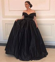 Классический черный атлас линия вечерние платья с бисером Sexy Off плеча Пром платья дешевые невесты мать платье