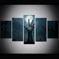 5 Piece Large Size Canvas Wall Art Halloween Cemetery Oil Pa...