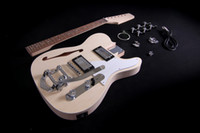 DIY 일렉트릭 기타 키트 세미 할로우 바디 F 구멍 볼트에 마호가니 넥 크롬 하드웨어