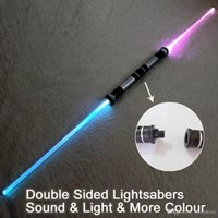 htt 2 Pieces Sound Lightsaber Cosplay Props Kids Double Light Saber Toy Sword for Boys Christmas Gifts